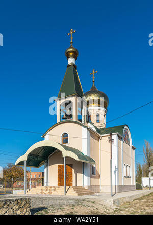 Koblevo, Ukraine - 10.11. 2019. Small Orthodox church at the Black Sea resort in the village of Koblevo, Ukraine - Stock Image