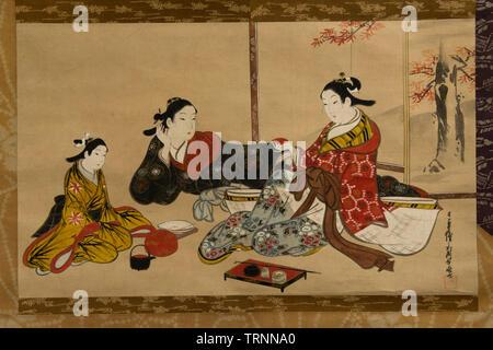 Courtesans Having a Chat by Miyagawa Choki. 18th Century. Tokyo National Museum - Stock Image
