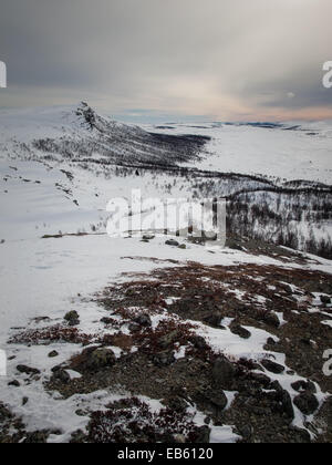 snow covered winter mountain in dawn light with snow field in foreground - Stock Image