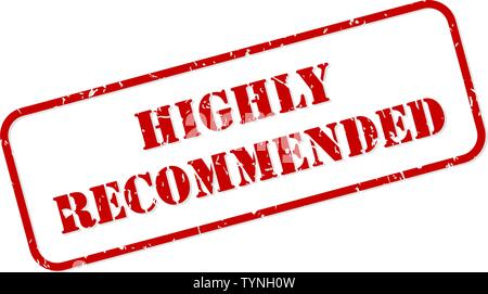 Highly recommended red rubber stamp vector isolated - Stock Image