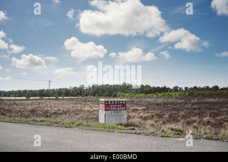 A leasing sign on an empty plot of land in the town of Naples in Florida. - Stock Image