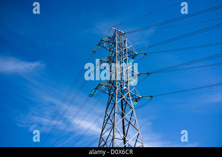 High voltage power line pylon - Stock Image
