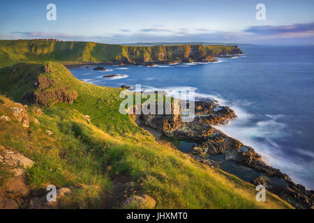 Portnaboe bay and North Antrim Cliff from Great Stookan, Giant's Causeway, UK - Stock Image