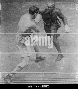 Boxing match, Sam Langford v Bill Lang, London, 21 February 1911. Langford won in the 6th round. - Stock Image