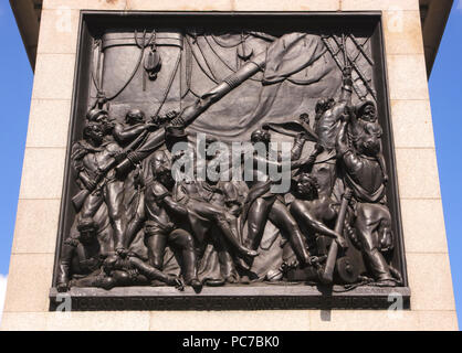 Engraving at base of Nelsons Column Trafalgar Square London - Stock Image