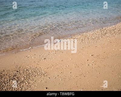 Blue Adriatic sea and coastline on sunny day - Stock Image