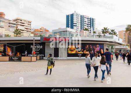 Hard rock cafe Malaga, closed, Muelle Uno, Port of Malaga, Andalusia, Malaga Spain. - Stock Image
