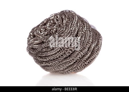 Stainless steel scouring pad isolated on a white background - Stock Image