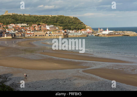 Scarborough beach with Scarborough Castle, harbour and lighthouse. unsharpened - Stock Image