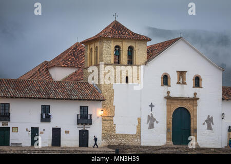 Plaza Mayor, Villa de Leyva, Boyacá, Colombia, South America - Stock Image
