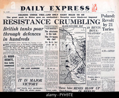 Daily Express newspaper headline 'Resistance Crumbling - British tanks pour through defences in hundreds'  Second World War England  February 28 1945 - Stock Image