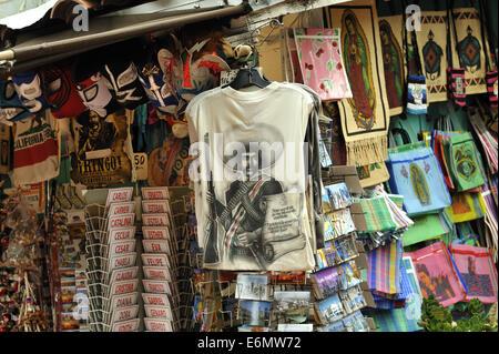 Shirt with image of Emiliano Zapata, Calle Olvera, or Olvera Street. El Pueblo de Los Angeles Historic Monument, - Stock Image