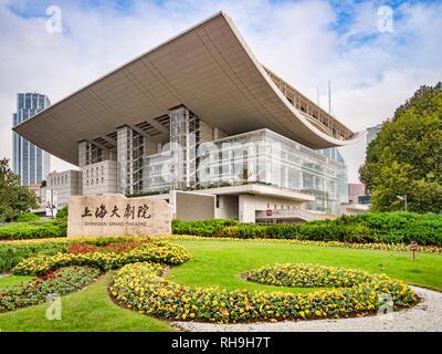 2 December 2018: Shanghai, China - The Shanghai Grand Theatre, the city's main performance venue. - Stock Image