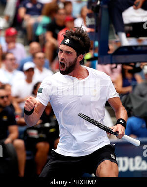 New York, United States. 02nd Sep, 2018. Flushing Meadows, New York - September 2, 2018: US Open Tennis: Nikoloz Basilashvili of the Republic of Georgia celebrates after winning the third set today against Number 1 seed Rafael Nadal during their fourth round match at the US Open in Flushing Meadows, New York. Nadal won in four sets. Credit: Adam Stoltman/Alamy Live News - Stock Image
