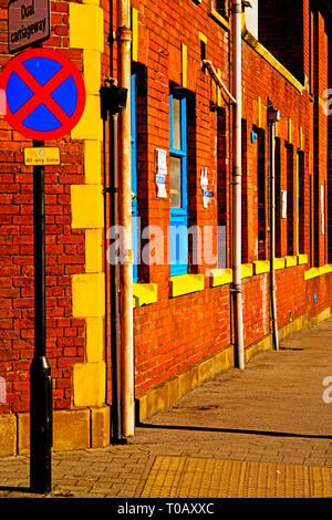 Sheffield, Yellow and blue Commercial Building, England - Stock Image
