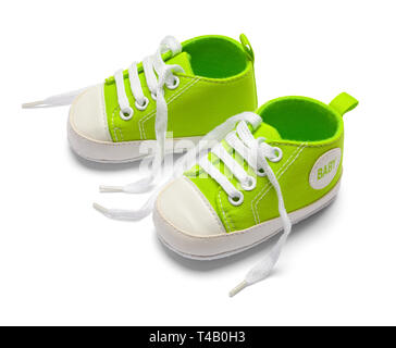 Open Green Baby Shoes Isolated on White Background. - Stock Image
