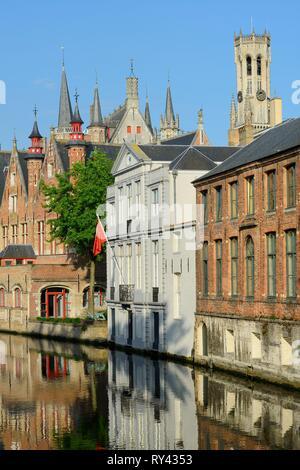 Belgium, Western Flanders, Bruges, historical centre listed as World Heritage by UNESCO, Steenhouwersdijk - Stock Image