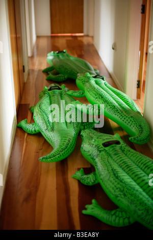 Inflatable crocodile series Rushing down the corridor - Stock Image