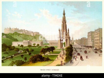 Vintage print of Princes Street, Edinburgh, Scotland in the 19th century, circa 1880s.   Showing the Scott Monument a Victorian Gothic monument to Scottish author Sir Walter Scott. - Stock Image