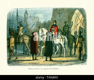 King Henry V marching out to defeat Oldcastle revolt. Sir John Oldcastle was an english Lollard leader, he was prosecuted for heresy against the Churc - Stock Image