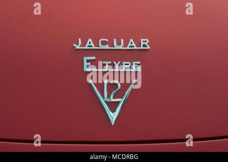 Jaguar E Type V12 Marque - Stock Image