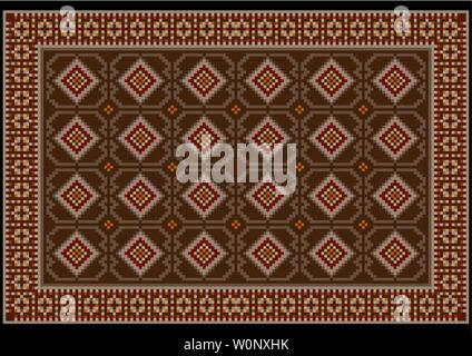 Luxury vintage oriental carpet in brown and beige tones with burgundy, yellow and gray patterns on a black background - Stock Image