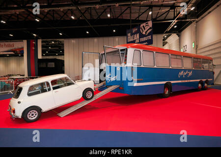 Recreation of the Legionnaire Bus used in the heist section of The Italian Job,  a special tribute exhibition at the 2019 London Classic Car Show - Stock Image