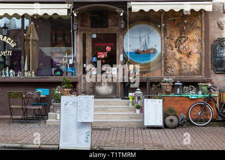 Polish restaurant shop front Gdansk Poland - Stock Image