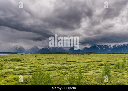 Stormy Clouds Over Teton Range in Wyoming - Stock Image