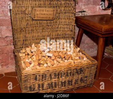 Czech Republic, Prague. Basket of wine corks at National Wine Bank. Credit as: Wendy Kaveney / Jaynes Gallery / - Stock Image