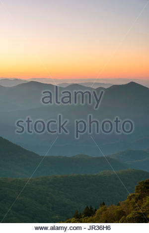 United States, North Carolina, Jackson County. Blue Ridge Mountains from Waterrock Knob at dawn, Blue Ridge Parkway. - Stock Image