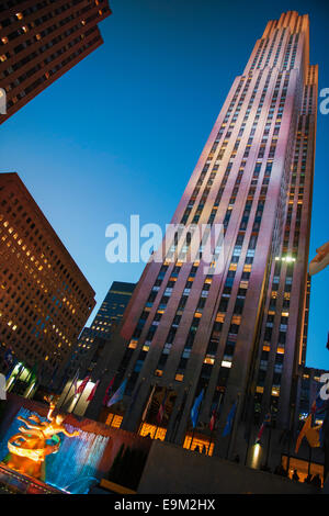 Rockefeller Center Night New York City 30Rock Fall - Stock Image