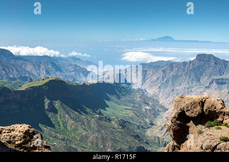 Views of the Mount Teide, in Tenerife Island, form the Nublo Rural Park, in the interior of the Gran Canaria Island, Canary Islands, Spain - Stock Image