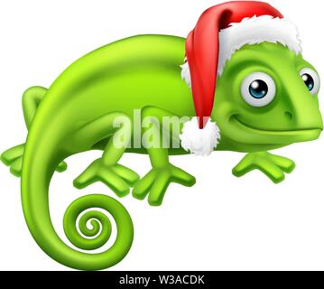 Chameleon at Christmas in Santa Hat Cartoon - Stock Image