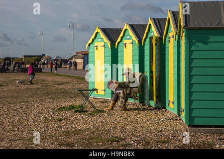 Woman, reading newspaper outside beach hut, West Sussex - Stock Image