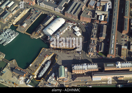 Aerial view of HMS Victory in Portsmouth Royal Naval Dockyards. Also featured are the Mary Rose Museum & the Royal Naval Museum - Stock Image