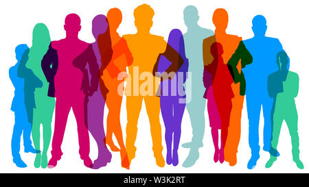 Colorful monochrome silhouettes of many different people as population and team. Concept - Stock Image