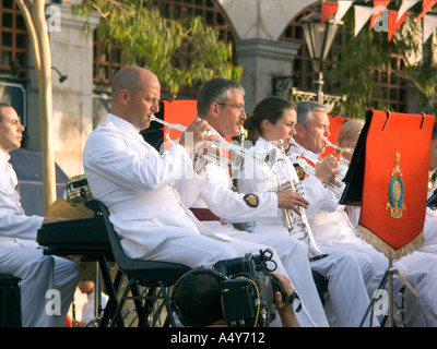 Royal Marines Band play in Gibraltar, to celebrate 300 years of British Rule, trumpet trumpets drum drummer military marshal - Stock Image