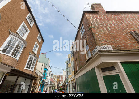 Junction between George street and Russell Court at Hastings old town, East Sussex, England , UK - Stock Image