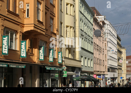 pedestrian street with shops in the centre of Brno - Stock Image