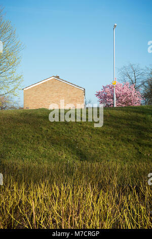 Blank Gable of a Mid-Century Modern House in Stevenage New Town, Hertfordshire. - Stock Image