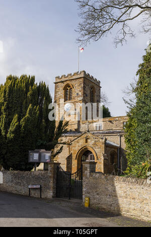 The church of St Columba in the village of Colingtree, Northamptonshire, UK; dates from the early 12th century with 19th century restoration. - Stock Image