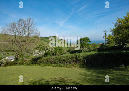 The rolling countryside around Combe Martin, North Devon, UK - Stock Image