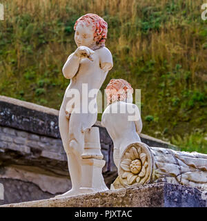 Memorial Statues To Marcus Balbus Herculaneum Italy - Stock Image