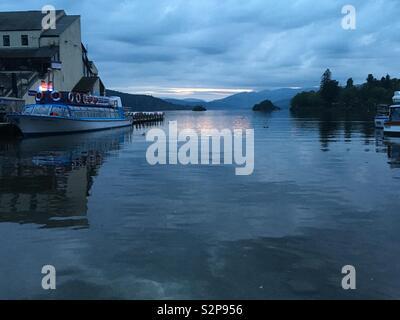 Lake Windermere at dusk - Stock Image