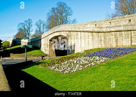 City Wall, Station Road, York, England - Stock Image