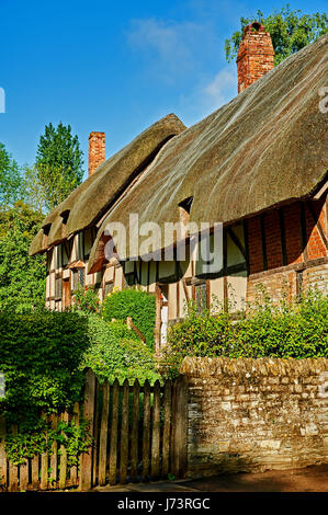 Stratford upon Avon and Anne Hathaway's cottage with its thatched roof and distinct timber style on a morning - Stock Image