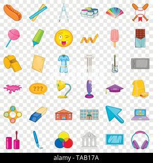 Ruler icons set, cartoon style - Stock Image