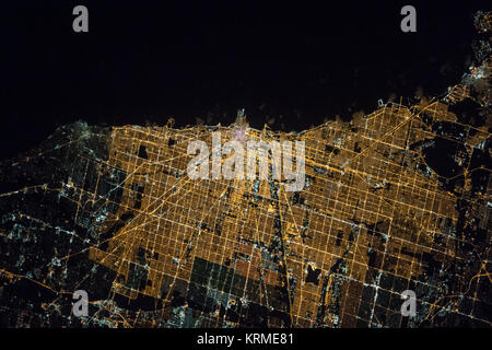 ISS-47 Chicago night view - Stock Image