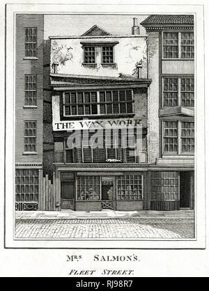 MRS SALMON'S WAXWORKS, Fleet Street, London : a favourite haunt of William Hogarth - Stock Image